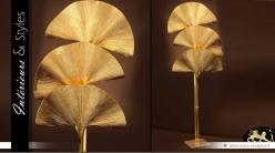 Lampadaire laiton doré en feuilles de palmier stylisées 197 cm