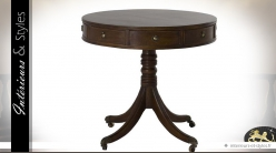 Table guéridon rétro en chêne finition brun antiquaire Ø 80 cm