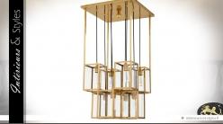Grand luminaire design à 8 lanternes dorées suspendues