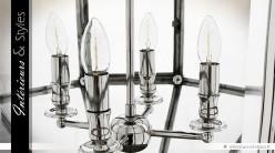 Suspension lanterne polyèdre argentée Ø 60 cm
