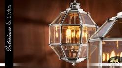 Suspension lanterne polyèdre argentée Ø 43 cm