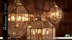 Suspension lanterne polyèdre dorée cuivrée Ø 80 cm