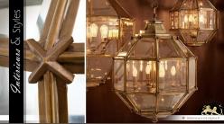 Suspension octogonale laiton dorée cuivrée Ø 60 cm