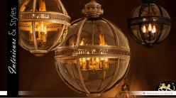 Suspension lanterne sphérique rétro dorée Ø 60 cm