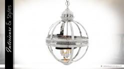 Suspension lanterne sphérique rétro argentée Ø 43 cm