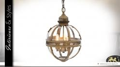 Suspension lanterne sphérique rétro dorée Ø 30 cm
