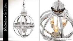 Suspension lanterne sphérique rétro argentée Ø 30 cm