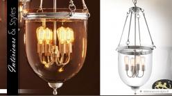 Lanterne suspendue rétro métal argenté et verre 100 cm