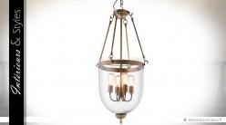 Lanterne suspendue rétro métal doré et verre 100 cm