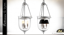 Lanterne suspendue rétro métal argenté et verre 70 cm