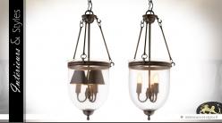 Lanterne suspendue rétro en verre et métal canon de fusil 70 cm