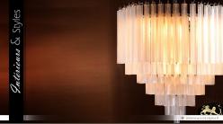 Suspension design en verre effet nacré 9 points lumineux Ø 60 cm