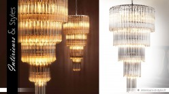 Grand lustre design nickel avec cascade de pampilles 107 cm
