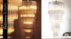 Lustre design nickel avec cascade de pampilles 88 cm
