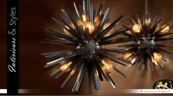 Suspension design Soleil noir finition bronze Ø 82 cm
