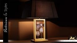 Lampe design avec encadement doré et pierre d'agate 66 cm