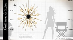Suspension design Tivoli finition noir et laiton doré Ø 148 cm