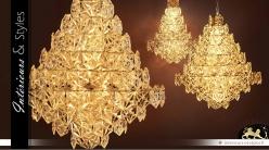 Lustre arbre de lumière cristalline à facettes 95 cm