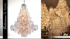 Lustre arbre de lumière cristalline à facettes 76 cm