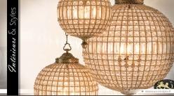 Lustre sphère à pampilles et laiton doré ancien 85 cm
