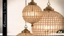 Lustre sphère à pampilles et laiton doré ancien 48 cm
