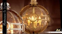 Lustre sphère en laiton doré style vintage Ø 50 cm