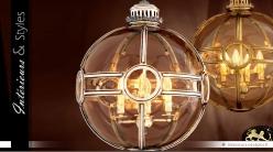Lustre sphère en laiton argenté style vintage Ø 50 cm