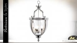 Suspension lanterne argentée en ogive 80 cm