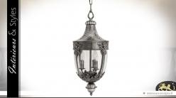 Lanterne suspendue finition vieil argent 60 cm