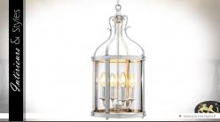 Lanterne cylindrique argentée à 4 points de lumière 52 cm