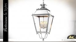 Lanterne de réverbère finition nickel argenté 86 cm