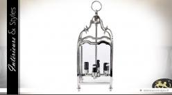 Lanterne suspendue argentée à 4 feux lumineux 50 cm