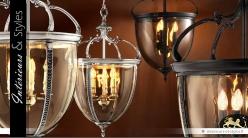 Suspension lanterne ancienne finition vieil argent 75 cm