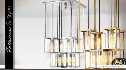 Grand luminaire design à 8 lanternes argentées suspendues