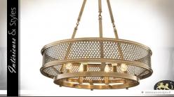Grande suspension cylindrique en laiton dorée ajouré Ø 66 cm