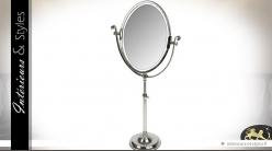 Grand miroir ovale sur pied finition argentée 110 cm