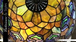 Lampe de prestige style Tiffany : le paon arc-en-ciel Ø 50 cm