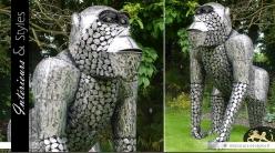 Sculpture animalière : Gorille en métal 1,90 m