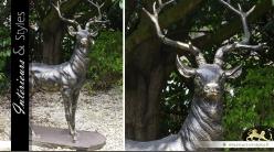 Sculpture animalière d'un cerf finition bronze vieilli