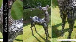 Sculpture cerf en métal finition argentée 165 cm