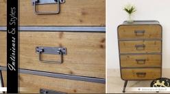 Chiffonnier à quatre tiroirs en bois et métal de style industriel