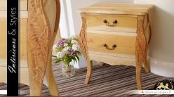 Table chevet 2 tiroirs style ancien sculpté main meuble à finir