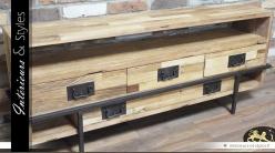 Meuble TV en bois et en métal de style contemporain