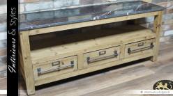 Meuble TV en bois brut et marbre