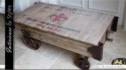 Table basse wagonnet style industriel bois massif et métal