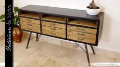 Buffet en bois et métal de style industriel et vintage