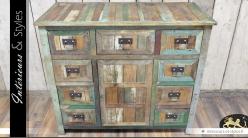 Buffet style brocante avec 9 tiroirs et une porte centrale