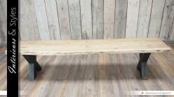 Long banc d'intérieur en acacia massif et métal 200 cm