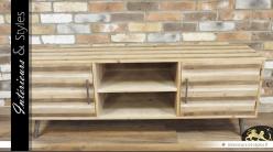 Meuble TV de style vintage bois massif trois teintes