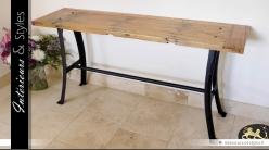 Console table d'atelier style industriel bois massif et métal
